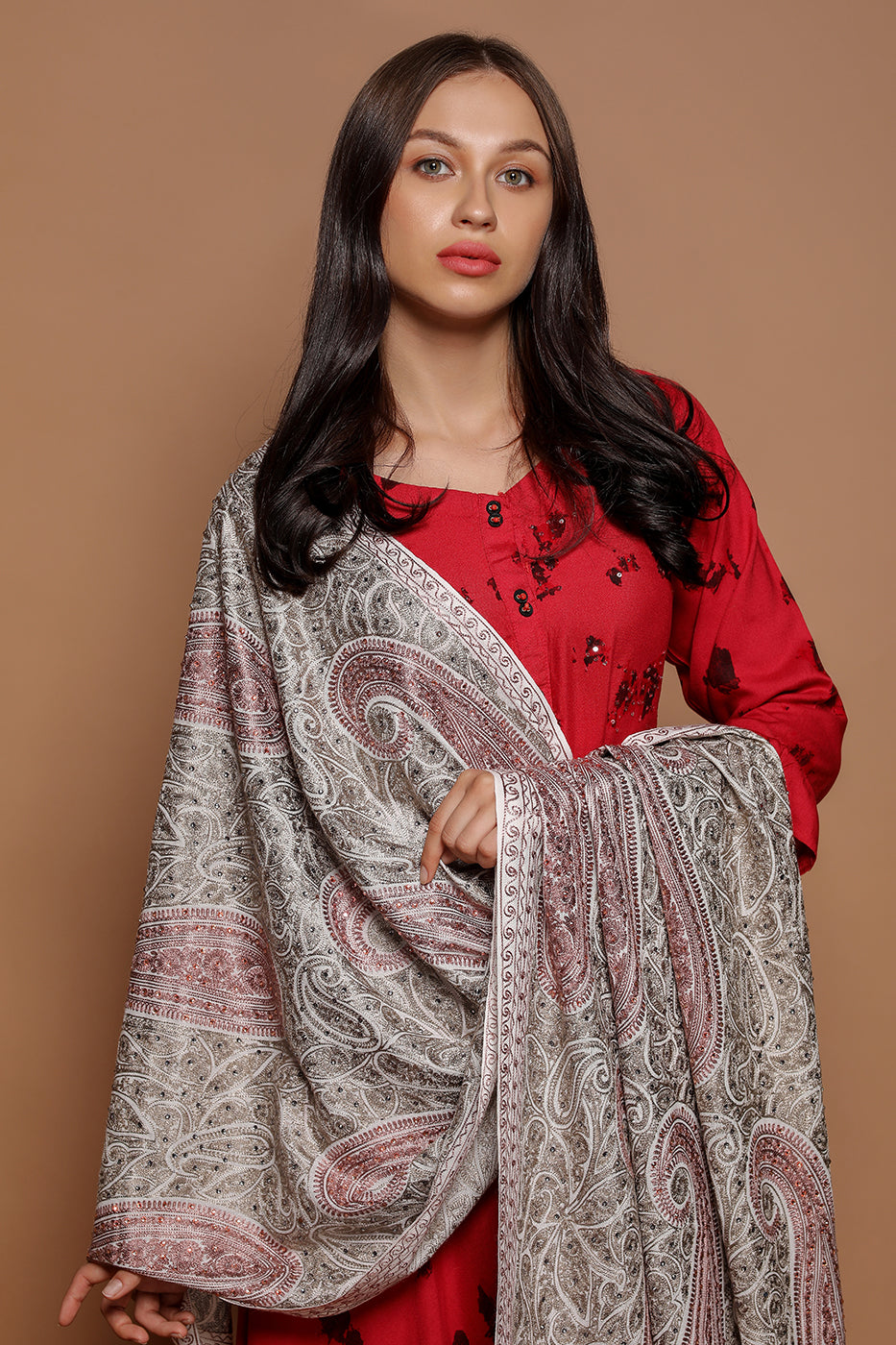 Large Paisley Embroidery Wrap - The Pashm