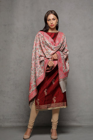 Floral Wavy Border Kani - The Pashm