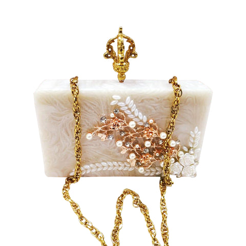 Crystal Flower Resin Clutch Bag - The Pashm
