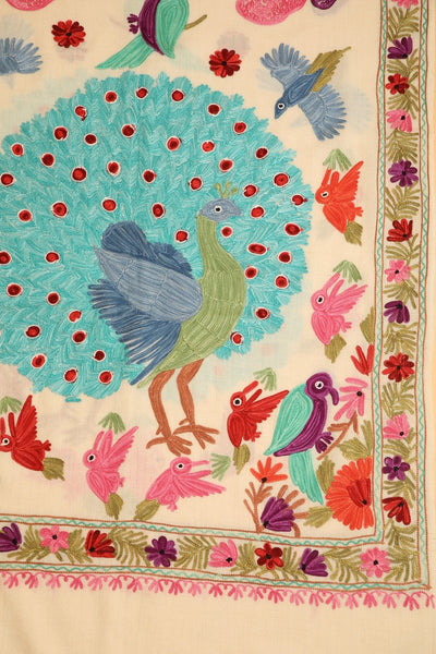 Peacock Embroidered Cashmere Pashmina Shawl - The Pashm