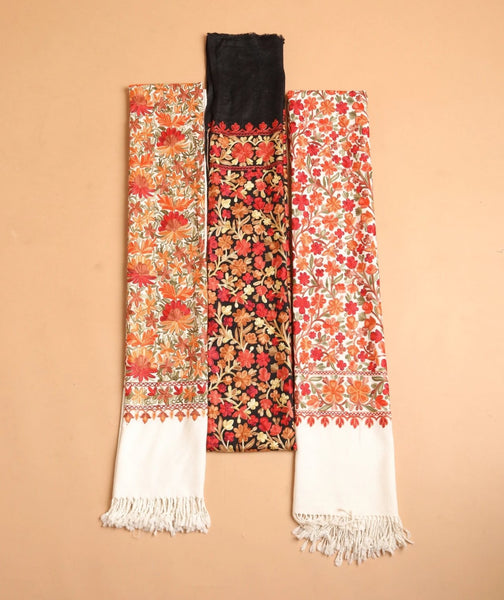Multicolor Flower Embroidery Wool Stole