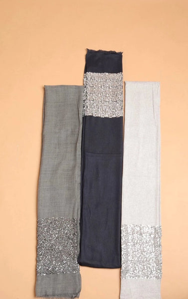Heavy Sequin Border Heavy Sequined Border Pashmina Shawl Cashmere - The Pashm
