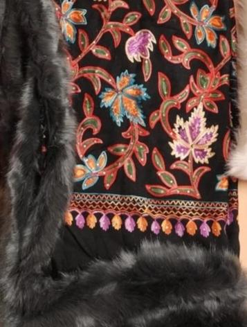 Embellished Embroidery Faux Fur Pashmina Wrap - The Pashm
