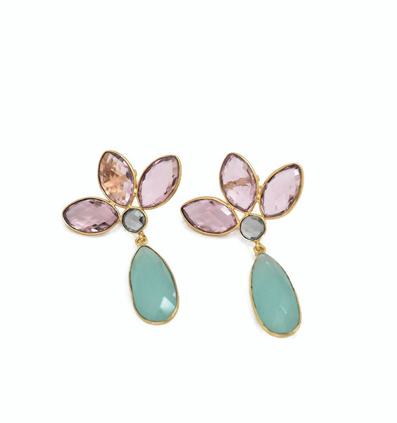 Pink Topaz and Aqua Chalcedony Earrings - The Pashm