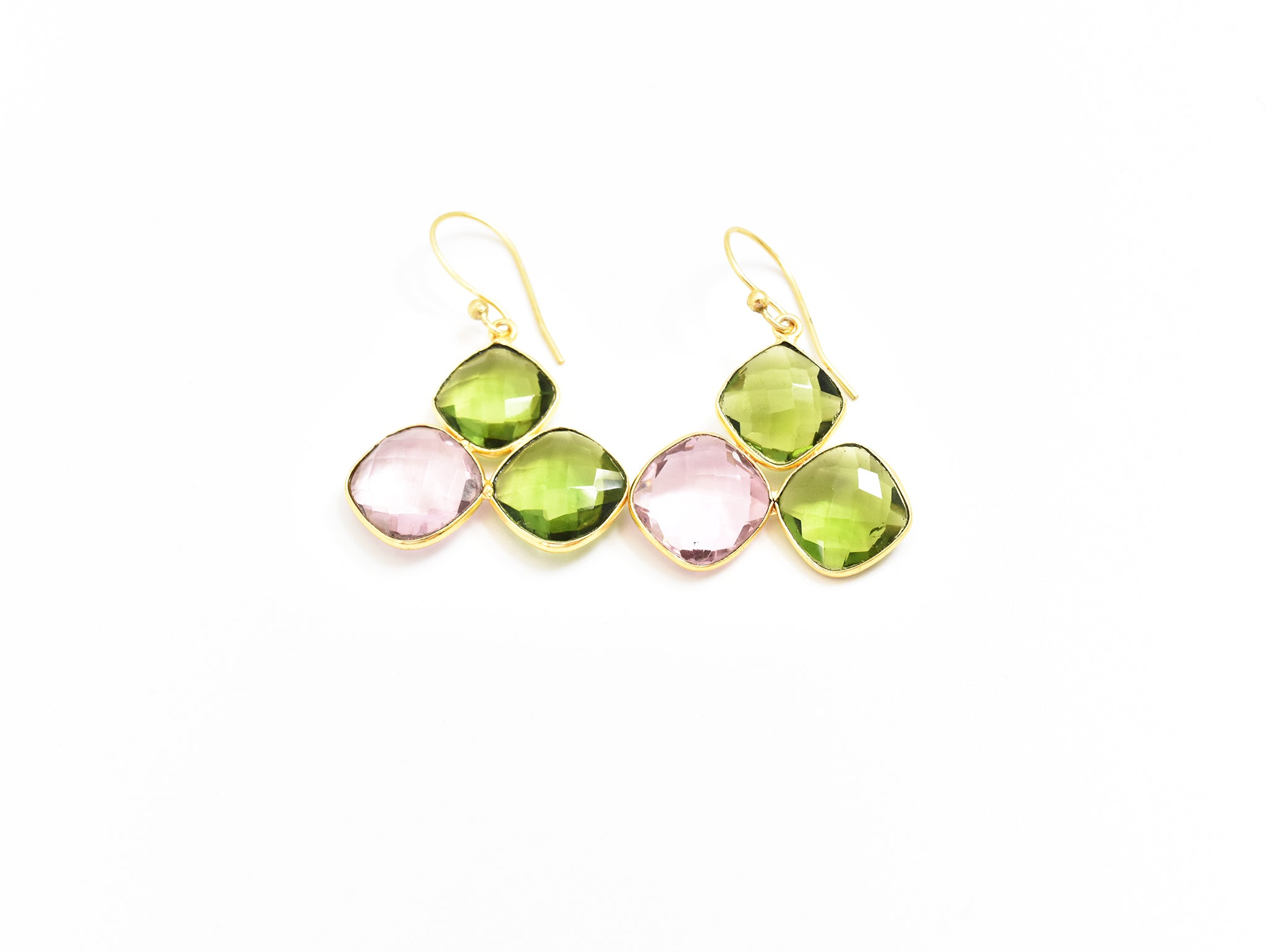 Hydro Peridot and Pink Topaz Earrings
