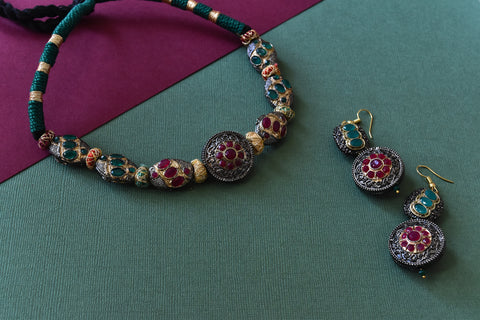 Antique Multicolor Stones Encrusted Choker Set - The Pashm