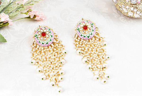Saba Hand Painted Meena Earrings - The Pashm
