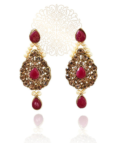 Batool Big Stones Studded Earrings and Tikka Set