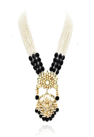 Uzma Kundan Pearl Black Stones Necklace Set - The pashm