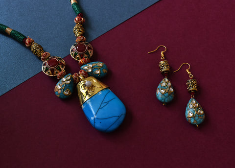 Turquoise Stone Blue Sea Sediment Jasper Pendant Set - The Pashm