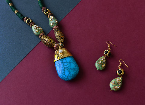 Turquoise Stone Green Sea Sediment Jasper Pendant Set - The Pashm