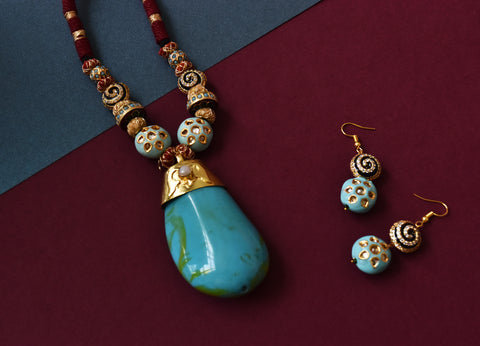 Natural Turquoise Stone Pendant Set - The Pashm