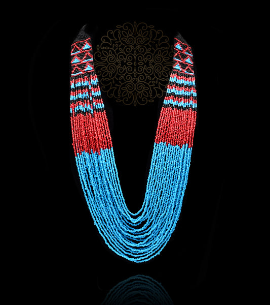 Sasha Hand Knitted Bead Necklace - Blue