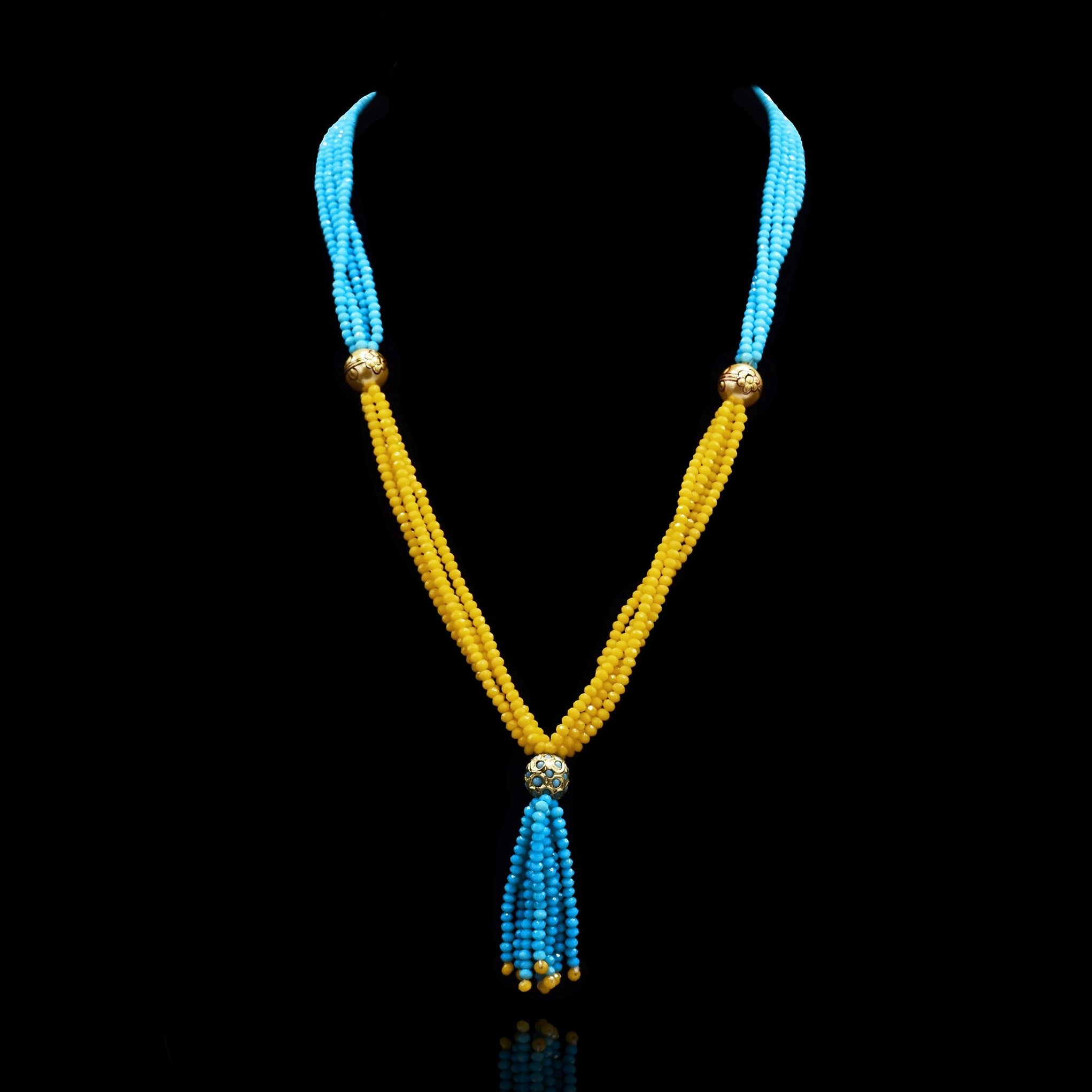 Natalie Blue Yellow Beads Necklace - The Pashm