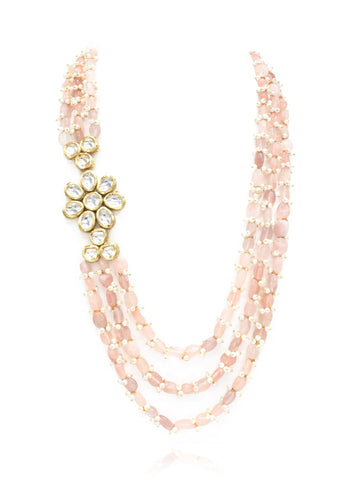 Yukhta Blush Stone Necklace Set - The Pashm