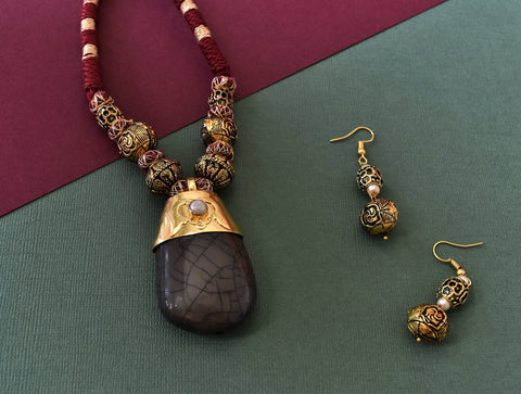 Natural Brown Stone Pendant Set - The Pashm