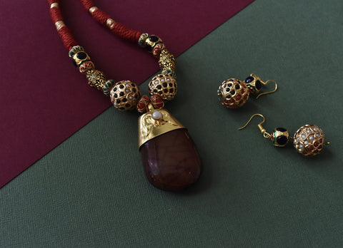 Natural Color Large Stone Pendant Set - The Pashm