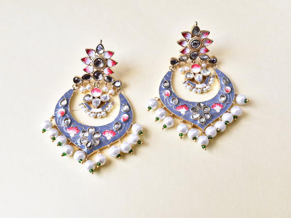 Hand Painted Meena Chandbali - The Pashm