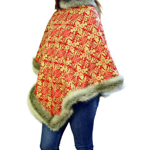 Embroidered Faux Fur Poncho