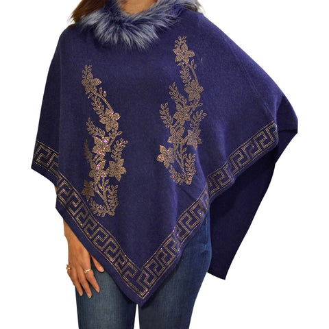 Greek Key Rhinestone Faux Fur Poncho