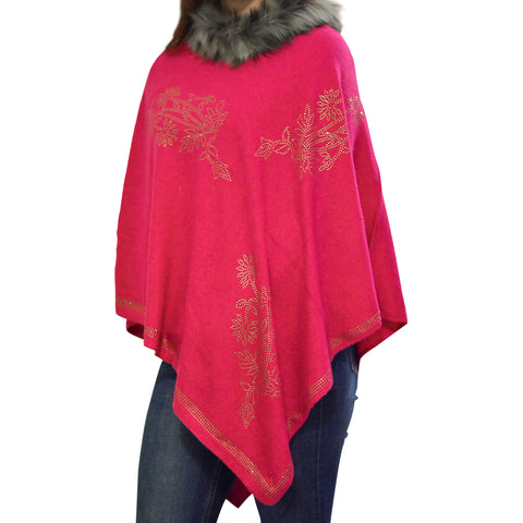 Golden Rhinestone Faux Fur Poncho