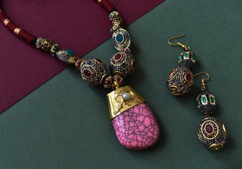 Pink Large Stone Pendant Set - The Pashm