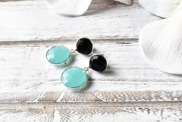 Aqua Faceted Chalcedony Earrings - The Pashm