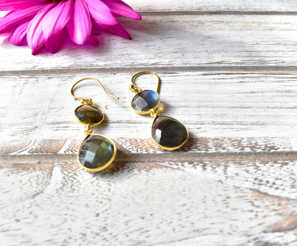 Two Stone Labradorite Earrings