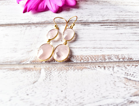 Rose Quartz Two Stone Earrings - The Pashm
