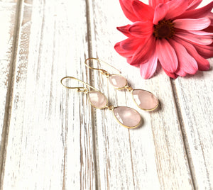 Rose Quartz Teardrop Earrings - The Pashm