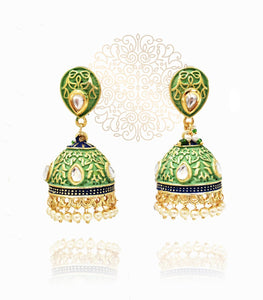 Asma Enameled Jhumka - The Pashm