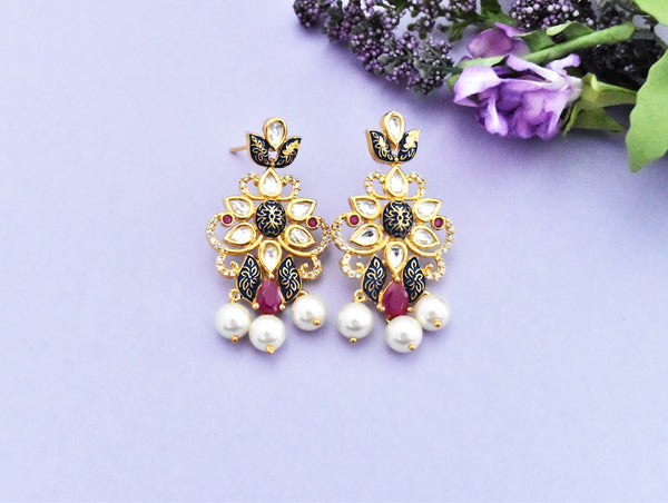 Gohar Kundan Meena Traditional Indian Earrings - The Pashm