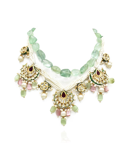 Vrushali Fluorite Kundan Pearl Necklace Set - The Pashm