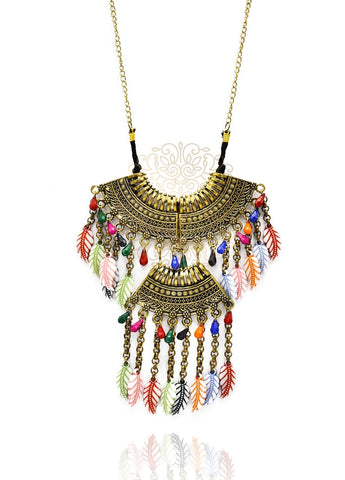 Aurelia Boho Feather Charm Necklace - The Pashm