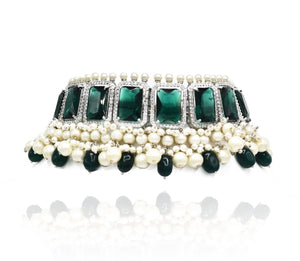 Parveen Green Pearl Stone AD Choker  - The Pashm