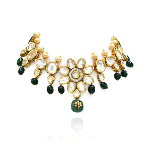 Azra Kundan Flower Green Beads Set - The Pashm