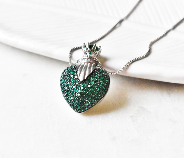 Moss Heart 925 Silver Necklace - The Pashm