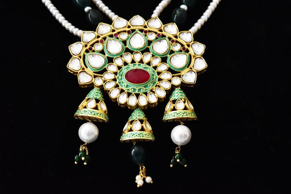Aabha Mint Kundan Pearl Necklace - The Pashm