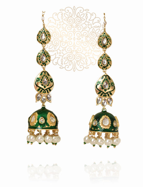Alia Long Traditional Indian Jhumka Earrings - The Pashm