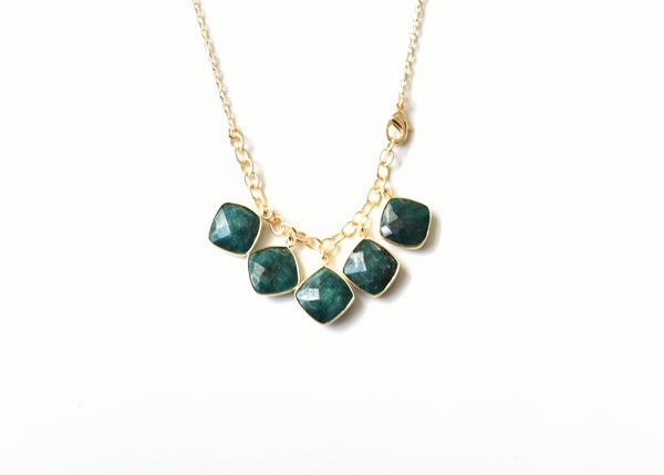 Green Faceted Chalcedony Necklace