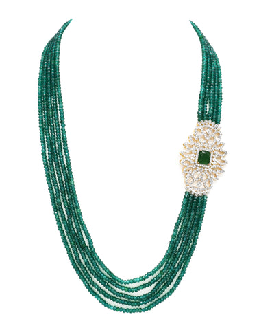 Bano Beaded Side AD Necklace - The Pashm
