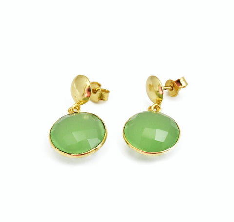 Natural Gemstone Green Chalcedony Earrings- The Pashm