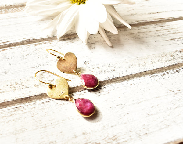Dyed Ruby Heart Earrings