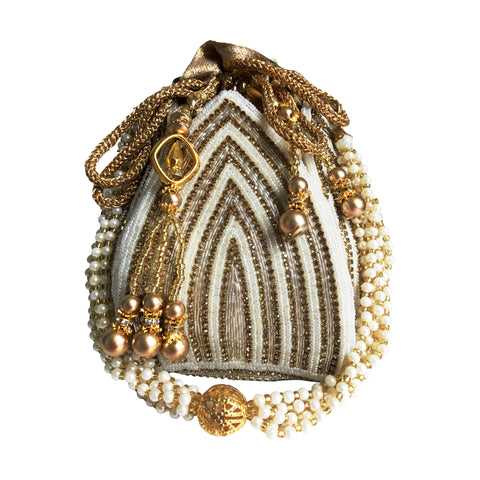 Lotus Pearl Sequin Potli Bag - The Pashm