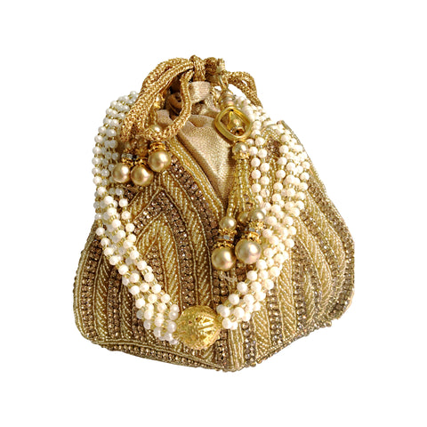 Lotus Crystal Pearl Bag - The Pashm