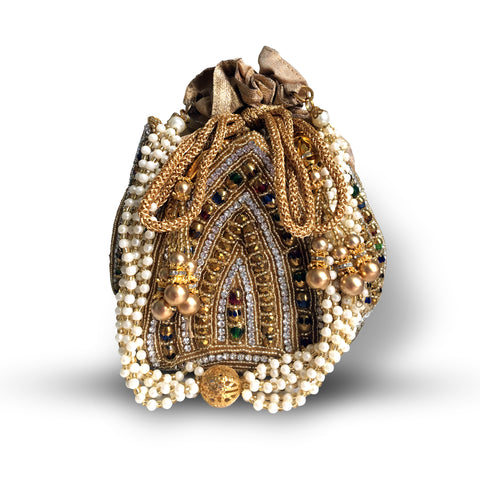 Lotus Colored Stone and Pearl Bag