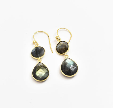 Two Stone Labradorite Earrings - The Pashm