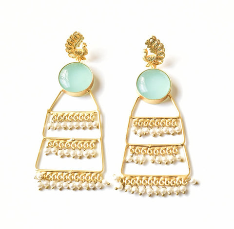 Aqua Chalcedony Peacock Ladder Earrings - The Pashm