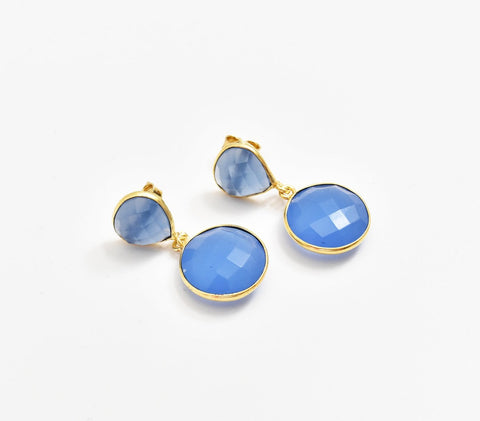 Blue Chalcedony Earrings - The Pashm