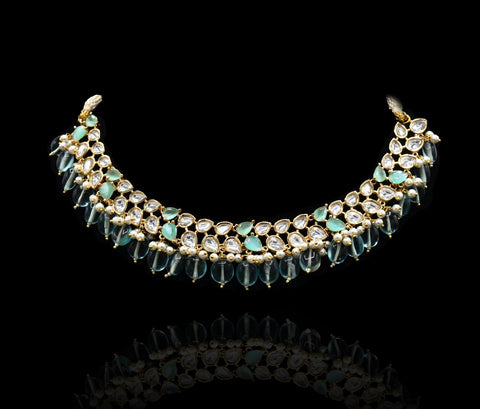 Azza Kundan Mint Necklace - The Pashm